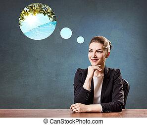 zakenmens , zittende , in, de werkkring, dromen ongeveer, vacation.