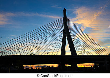 zakim, bunker høj, mindesmærke, bro, hos, solnedgang