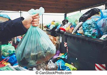 zakken, afval, volle, blikjes, vuilnis