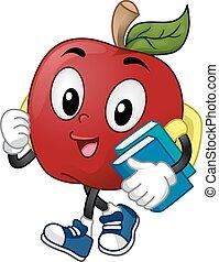 zakken, appel, boekjes , student, dragen, lezende , mascotte