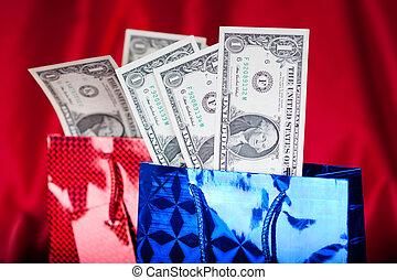 zakken, dollars, verjaardag geschenk