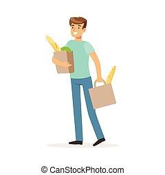 zakken, grocery boodschapend doend, voedingsmiddelen, woning, verdragend, jonge, illustratie, twee, vector, producten, echtgenoot, het glimlachen, winkel, man
