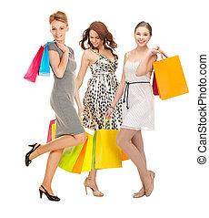 zakken, het winkelen kleur, meiden, aantrekkelijk, vasthouden