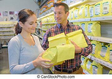 zakken, items, gele, papier, dame, aankoop, man