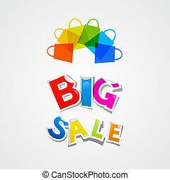 zakken, kleurrijke, titel, groot, sticker, verkoop