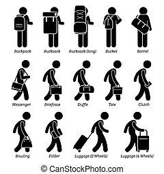 zakken, man, bagage