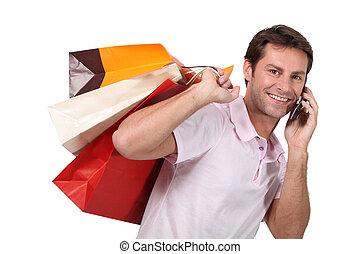 zakken, man, shoppen , gebruik, cellphone