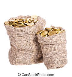 zakken, muntstukken., gevulde