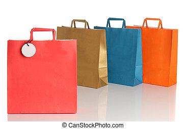 zakken, op, shoppen , gekleurde, geassorteerd