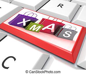 zakken, opslag, tonen, kerstmis, klee, shoppen , detailhandel, of, aankoop