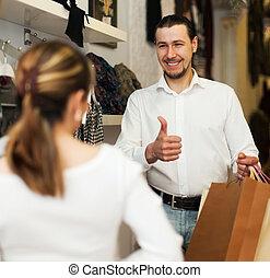 zakken, paar, kleding, jonge, winkel