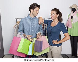 zakken, paar, shoppen , de opslag van de kleding