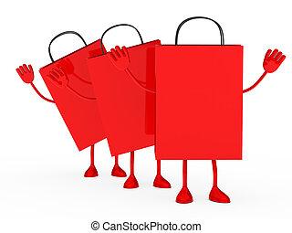 zakken, procent, verkoop, rood, golf