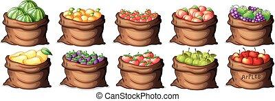 zakken, set, fruit