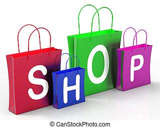 zakken, shoppen , tonen, aankoop, kleinhandelswinkel