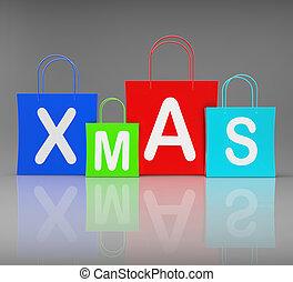 zakken, shoppen , tonen, detailhandel, kerstmis, aankoop