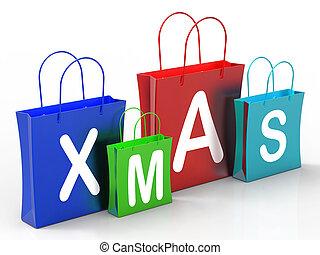 zakken, shoppen , tonen, kerstmis, opslag, detailhandel, of, aankoop