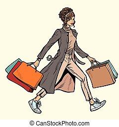 zakken, shoppen , vrouw, moderne