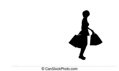 zakken, silhouette, vrouw winkelen, vasthouden