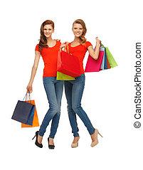 zakken, tiener, shoppen , twee meisjes