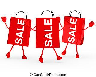 zakken, verkoop, rood, golf