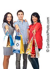 zakken, vrienden, shoppen , vasthouden, vrolijke