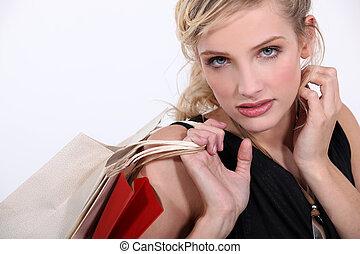 zakken, vrouw, papier