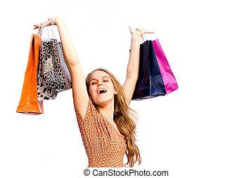 zakken, vrouw winkelen, koper, vrolijke