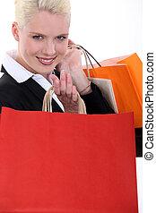 zakken, vrouw zaak, vasthouden, blonde, karton