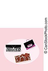 zakken, vrouwen, mode, verzameling, hand