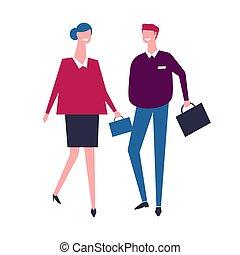zakken, wandelende, zakenlui, werkmannen , samen, team