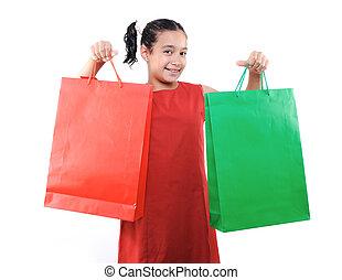 zakken, weinig; niet zo(veel), shoppen , vrijstaand, dozen, meisje