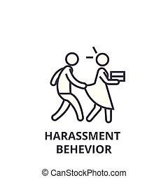 zaklatás, behevior, sovány megtölt, ikon, aláír, jelkép, illustation, lineáris, fogalom, vektor