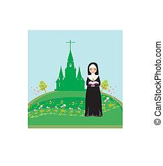 zakonnica, przód, modlący się, kościół
