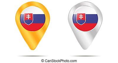 zakreslení grafické pozadí, připíchnout, běloba vlaječka, slovakia.