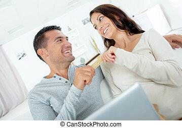 zakupy, argumentując, para, włączony, figlarny, na