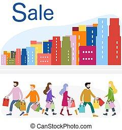 zakupy, cielna, concept., city., sprzedaż