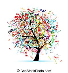 zakupy, drzewo, pojęcie, dla, twój, projektować