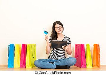 zakupy, gospodyni, kredyt, online, używając, karta