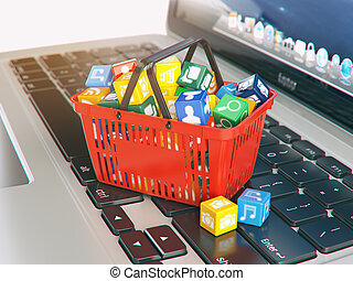 zakupy, ikony, laptop, apps, zastosowanie, basket., komputer, concept., zaopatrywać, software
