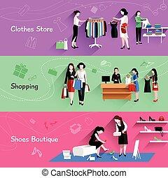 zakupy, kobieta, komplet, chorągiew