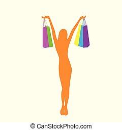 zakupy, kobieta, sylwetka, z, barwny, mnóstwo