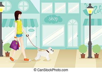 zakupy, kobieta, z, jej, pies, ilustracja