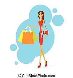 zakupy, kobieta, z, mnóstwo, pieszy, odizolowany, wektor, ilustracja