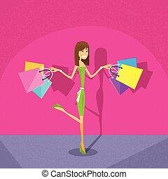 zakupy, kobieta, z, mnóstwo, różowe tło