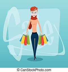 zakupy, kobieta, z, mnóstwo, sprzedaż