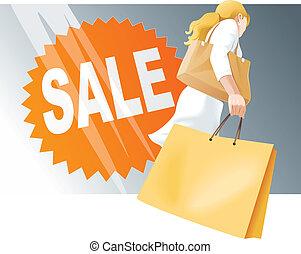 zakupy, kobieta, z, mnóstwo, sprzedaż znaczą