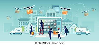 zakupy, kurier, ludzie, truteń, dostarczając, doręczenie, wektor, online, awangarda, towar