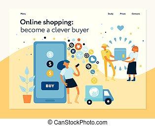 zakupy, pojęcie, chorągiew, online