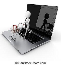 zakupy, pojęcie, e-handel, online, człowiek, 3d